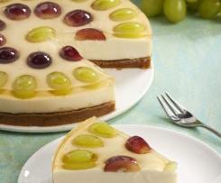 Tarta de queso con uvas al moscatel