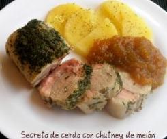 Secreto de cerdo con chutney de melón