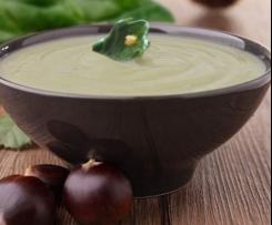 Menu completo: Crema de acelgas y castañas con merluza al vapor y tomates xerry